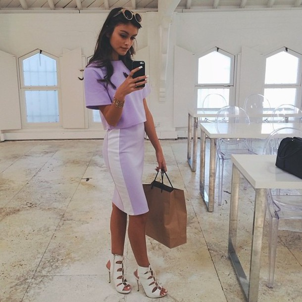 shoes white strappy heels lace up heels two-piece two-piece skirt dress purple lilac
