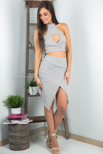 top dolly girl fashion cut-out halter neck grey top crop tops cropped clubwear two-piece