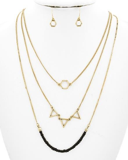 Boho chic Layered Simple Necklace Black and Pyramids Tryangles - PennyLuna