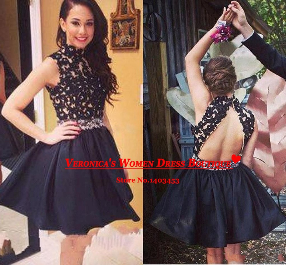 Aliexpress.com : Buy Vestido de festa 2015 High Neck Black Lace A ...