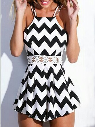 romper black white cut-out