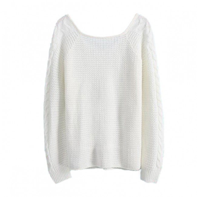 Casual White Braided Pullover