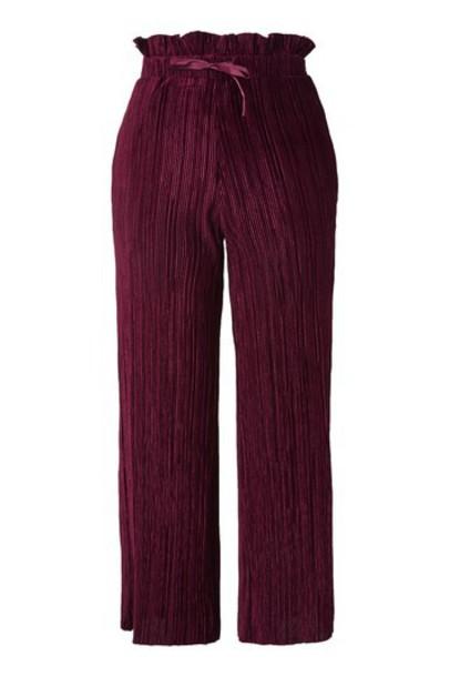Topshop pants ruffle velvet