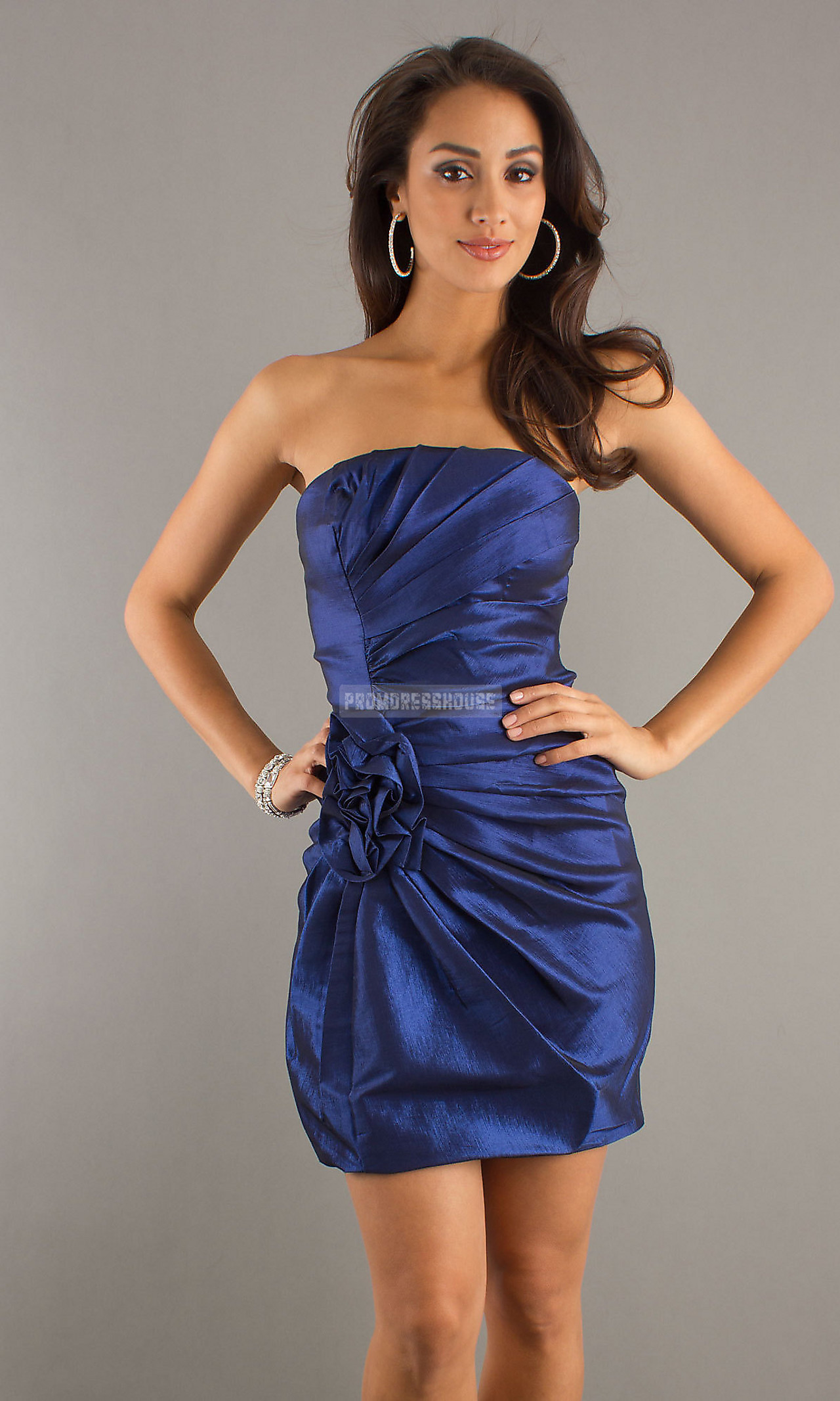 Pleated Strapless Column Ruched Taffeta Prom Dress - Promdresshouse.com