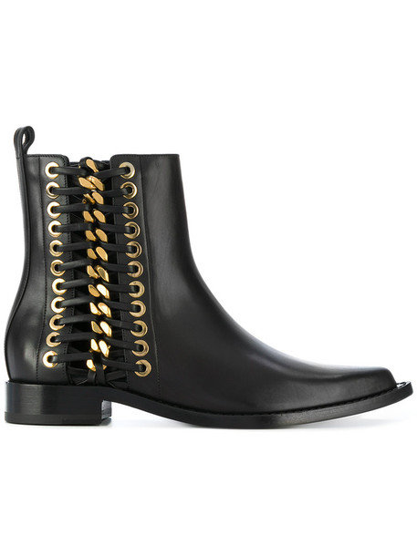 Alexander Mcqueen women braided ankle boots leather black shoes