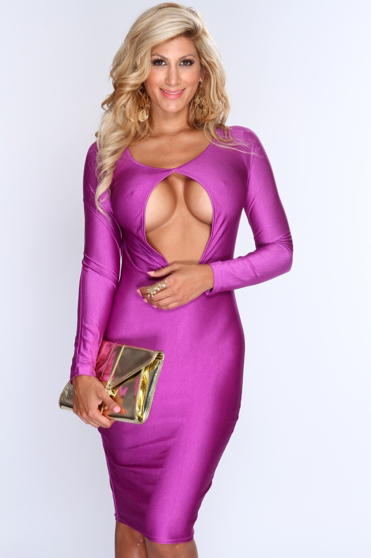 Violet Key Hole Front Knee Length Bodycon Dress