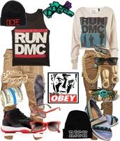 shirt,obey,dope,run dmc,streetstyle,air jordan,pants,jewels