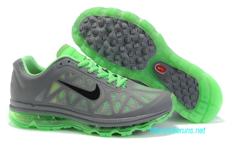 Mens Nike Air Max 2011 Cool Grey/Black-Neo Lime Sneakers [Tiffany Free Runs 103]-$56.98|Tiffanyfreeruns.net