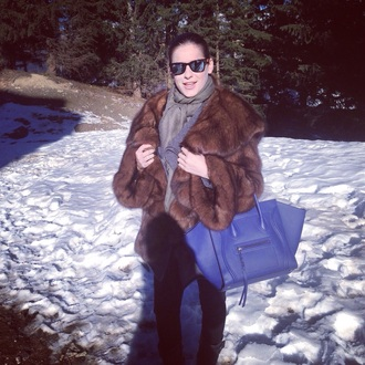 bag celine fashion fur coat winter coat rayban mirrored sunglasses