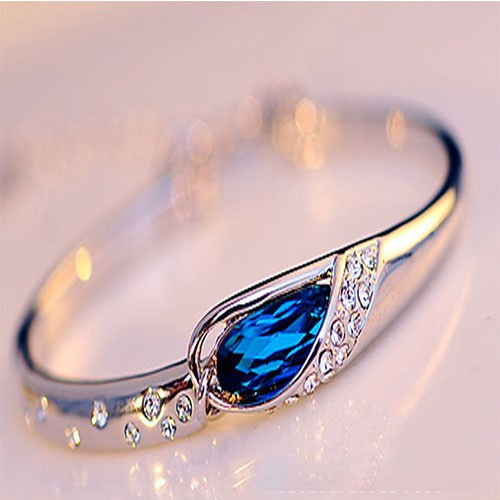 Fashion Rhinestone Waterdrop Sapphire Bracelet bule for big sale!