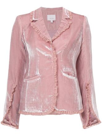 blazer women spandex silk velvet purple pink jacket
