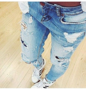jeans ripped jeans shoes adidas