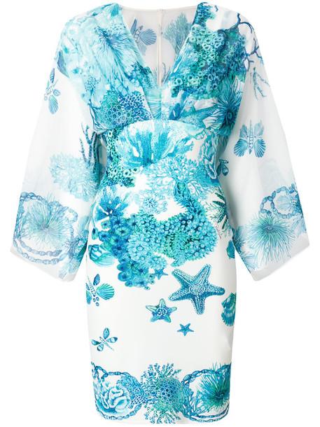 dress print dress women spandex print blue silk coral