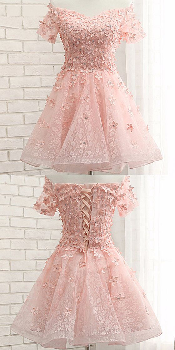 Pink Lace Homecoming Dresses, Off Shoulder Homecoming Dresses, Appliques Homecoming Dresses, Homecom on Luulla · Denisestore