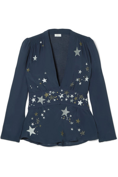 RIXO London top embroidered embellished blue