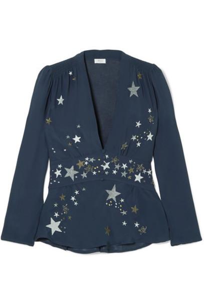 top embroidered embellished blue