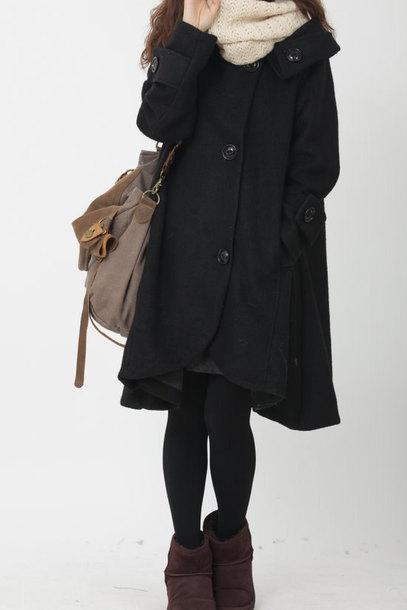 coat black cloak black cloak wool coat