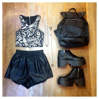 top tank top black grunge metallic backpack boots crop cropped crop tops shorts girl rock