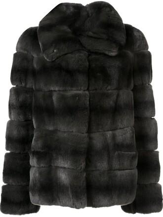 coat fur women silk green