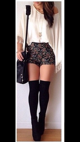 shorts flowered shorts tumblr shorts bag shoes boots top sheer blouse