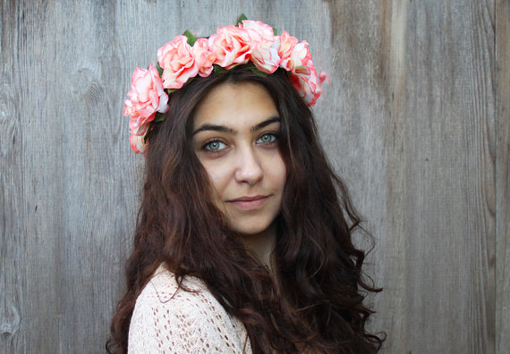 Coral Pink Rose Flower Crown  Rose Headband by BloomDesignStudio