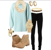 sweater,scarf,black jeans,jeans,aqua,blue,blue sweater,aqua sweater,fall outfits,winter outfits,bag,shoes,jewels