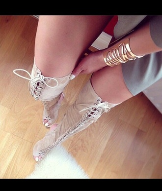 shoes tan thigh highs tan heels over knee boots beige boots lace up boots thigh high boots heel boots open toed boots heels strappy lace up