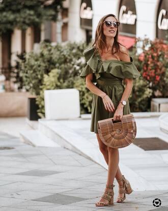 dress green dress tumblr off the shoulder off the shoulder dress mini dress bag basket bag sandals sandal heels high heel sandals nude sandals shoes