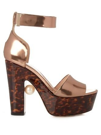 pearl embellished sandals copper shoes