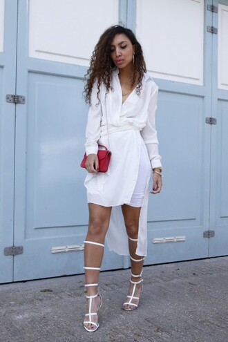 from hats to heels blogger shoes bag jewels hat white dress long sleeve dress red bag white heels