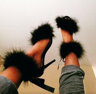 shoes heels fur heels fur boots feathers feather heels black heels black feathers strap