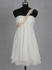 dress,one shoulder dress,short homecoming dress,Gold beaded dress