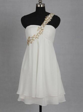 dress one shoulder dress short homecoming dress gold beaded dress