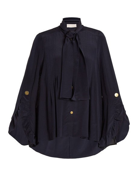 Peter Pilotto blouse ruffle silk navy top