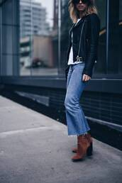 shoes,tumblr,brown boots,high heels boots,suede boots,suede,denim,jeans,blue jeans,cropped jeans,kick flare jeans,kick flare,black leather jacket,leather jacket,black jacket,fall outfits,jacket,sock boots