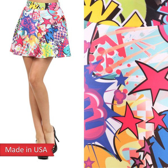 skirt skater skirt mini skirt a line skirt high waisted skirt funky comic printed skirt boom wow colorful pop art cartoon cartoon print stars