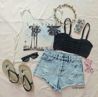 shirt palm tree print tank top summer