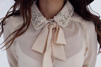 blouse pearl knot girly shirt bow rose