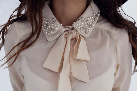 shirt rose bow blouse pearls pearl knot girly
