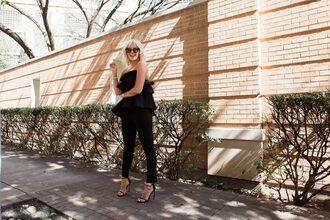 the courtney kerr blogger pants shoes sunglasses jewels top t-shirt jacket black blouse high heel sandals sandals black pants
