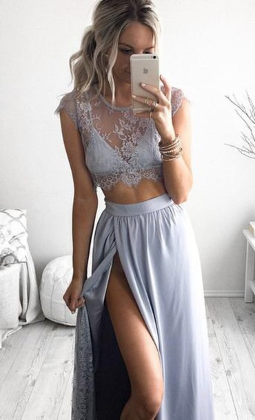 skirt two piece dress set two-piece lace lace dress blue maxi skirt crop tops color and top