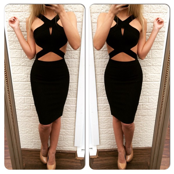 Dress Black Dress Black Cutout Dress Side Cutout Dress