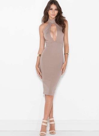 dress keyhole dress taupe dress bodycon dress sexy tight dress