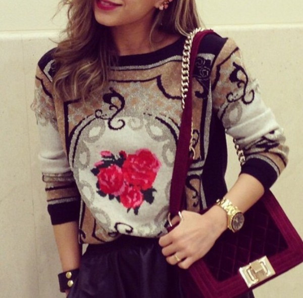 sweater brown blouse flowers girly belly shirt crop tops tumblr girl