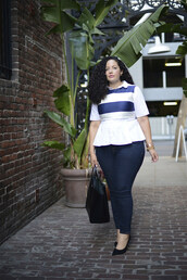 girl with curves,blogger,top,jeans,bag,curvy,stripes,ruffle,plus size jeans,plus size,plus size top,pumps,pointed toe pumps,high heel pumps,spring outfits