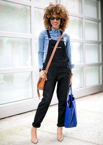 pants blue button up shirt sunglasses brown bag nude heels blogger black overalls
