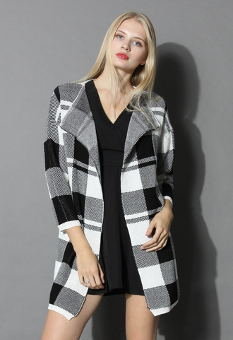 coat knit in classic check open coat chicwish open