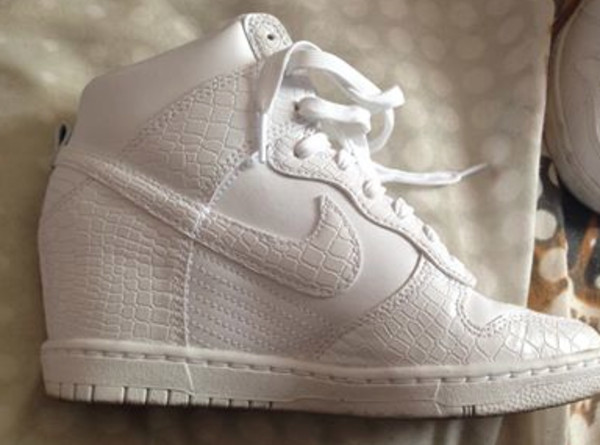 nike dunk sky hi white wedge trainers