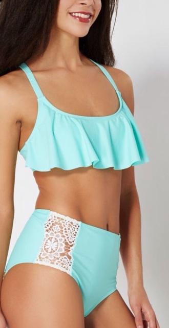 swimwear turquoise bikini high waisted bikini blue bikini