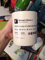 top,5 seconds of summer,twitter,tweet,mug,michael clifford,band merch